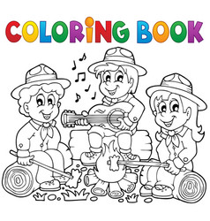 Coloring book scouts theme 1 vector