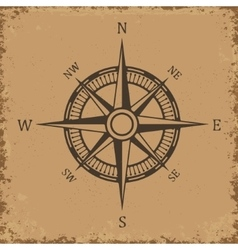 Compass Wind rose on grunge background Old vector