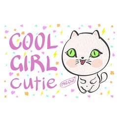 cool girl cutie little white cat vector image