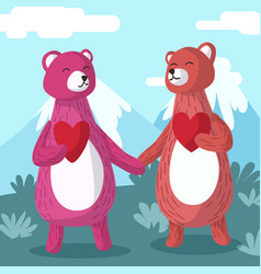couple bear holding hands greeting card vector image