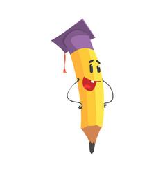 cute cartoon yellow pencil character wearing vector image