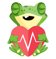 cute frog cartoon mascot in love holding heart vector image