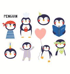 Cute little penguin set vector
