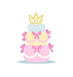 Cute three-tiered birthday cake in girlish style vector
