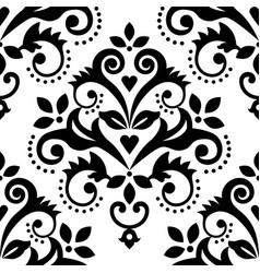 damask tiled wallpaper black and white print vector image