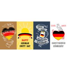deutschen einheit banner set hand drawn style vector image