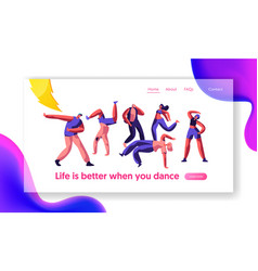 disco guy freestyle dancing part landing page vector image