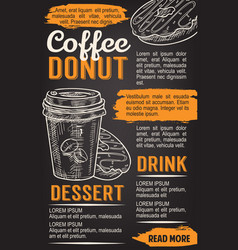 Donut and coffee chalkboard poster template vector
