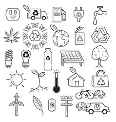 ecology recycle doodle icons vector image
