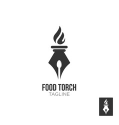 elegant luxury torch flame logo design vector image