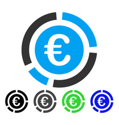 Euro financial diagram flat icon vector