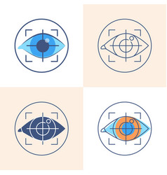 Eye tracking icon set in flat and line style vector