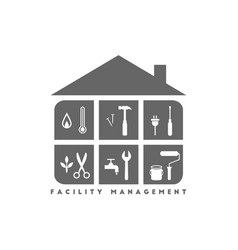 Facility management with building and tools vector