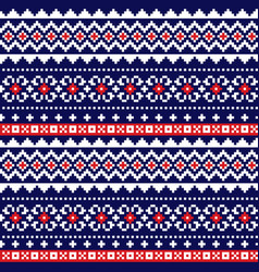 fair isle traditional knittting pattern vector image