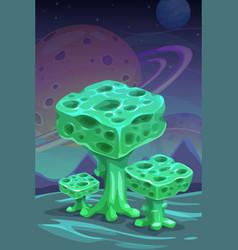 fantasy green alien mushrooms cartoon magic plant vector image