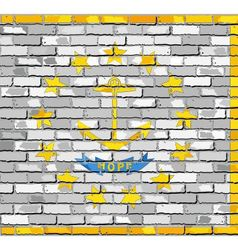 Flag of Rhode Island on a brick wall vector image