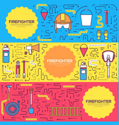 Flat firefighter uniform brochure cards vector