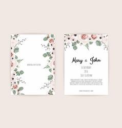 floral wedding invitation botanical card vector image