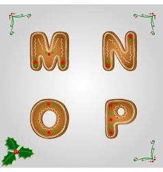 Gingerbread font m to p vector