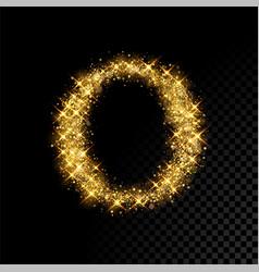 Gold glittering letter o on black background vector