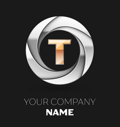 golden letter t logo symbol in the circle shape vector image