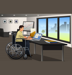 Handicapped businessman working in office vector