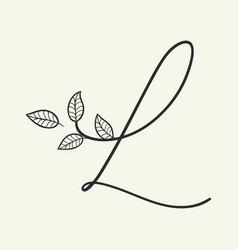handwritten letter l monogram or logo brand vector image