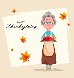 Happy thanksgiving day cheerful grandmother vector