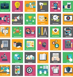 Icons of digital marketing video advertising vector image vector image