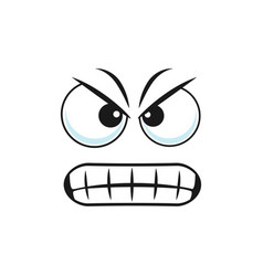 Irritated wicked angry smiley in bad mood vector