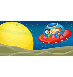Kids and flying saucers vector