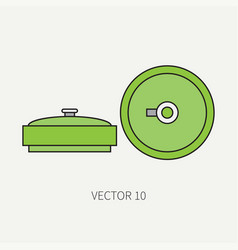 Line flat color military icon anti-tank vector