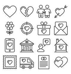 love icons set on white background line style vector image