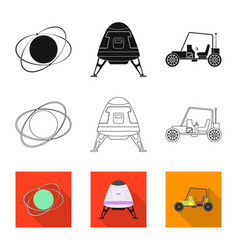 Mars and space sign set of vector