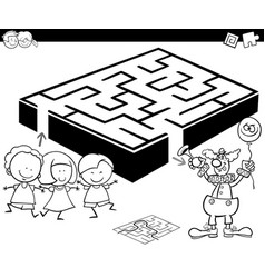 maze with kids and clown for coloring vector image