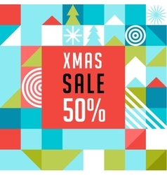 Merry Christmas geometric background sale poster vector image
