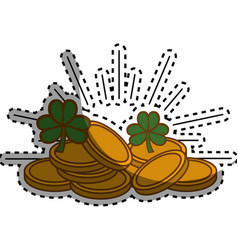 Metal coins with clovers plant vector