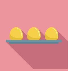 Molecular cuisine eggs icon flat style vector