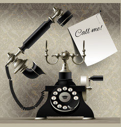 old telephone on vintage background and a paper vector image