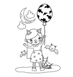 Outline kitten girl costume with bats and balloons vector