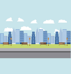 Park and city buildings vector