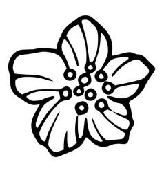 Peony icon hand drawn style vector