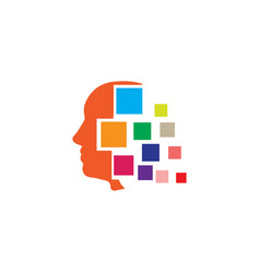 psychiatrist head abstract square effects logo vector image