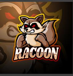 Racoon esport logo mascot design vector