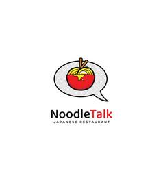 Ramen noodle talk logo icon noodle in red bowl vector