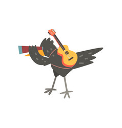 Raven travelling with guitar and spyglass cute vector