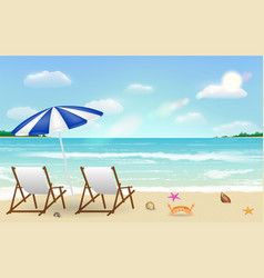real relax chair on sea sand beach background vector image