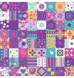 Seamless patchwork pattern ornaments vector image