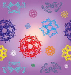 Seamless purple pattern with colorful decor vector