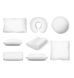 set different shaped soft white pillows vector image